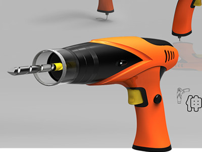 伸缩式电钻|电钻|工业设计|8718
